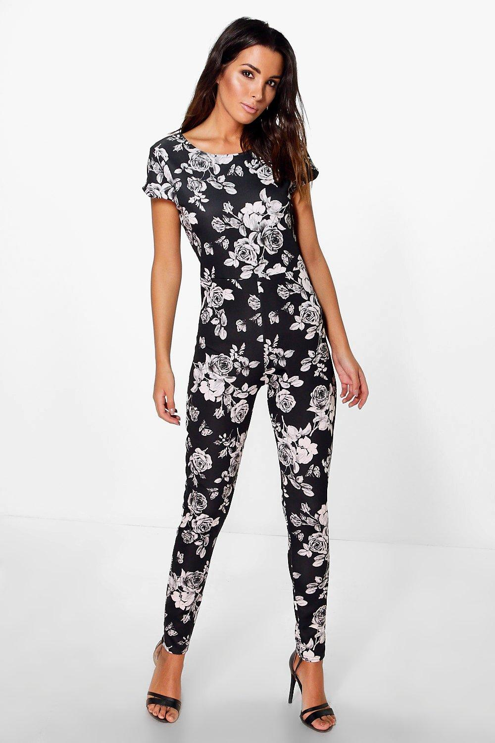 Louise All Over Floral Print Capped Sleeve Jumpsuit