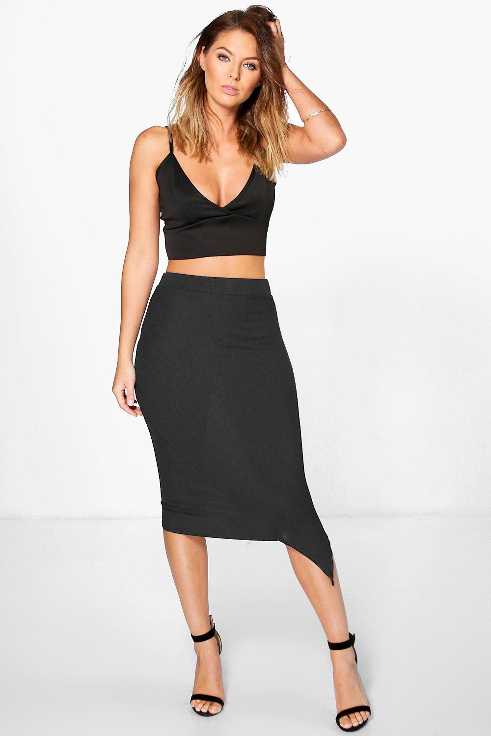 Asymetric Ribbed Longer Line Midi Skirt  black