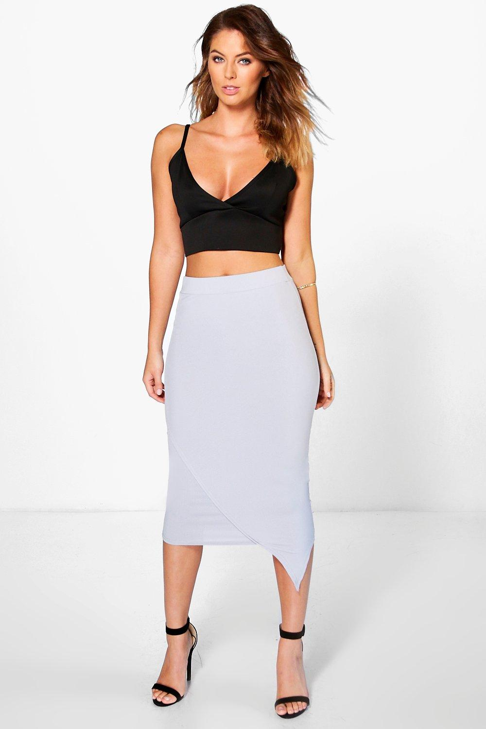 Asymetric Ribbed Longer Line Midi Skirt  grey