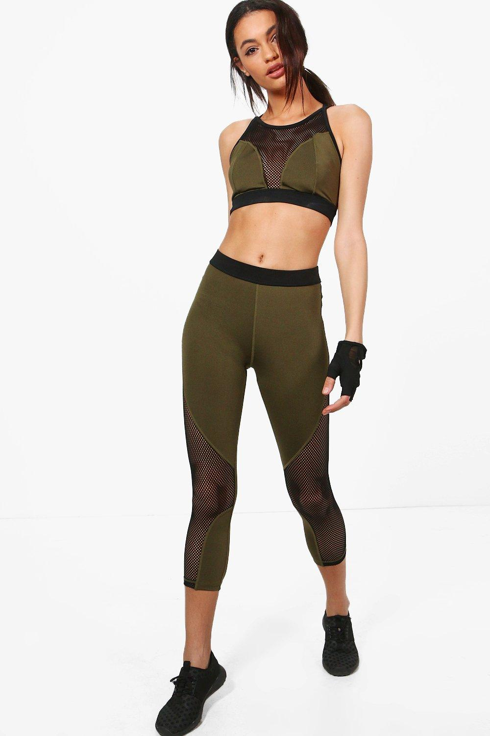 Lilly Fit Mesh Panel Capri Running Leggings