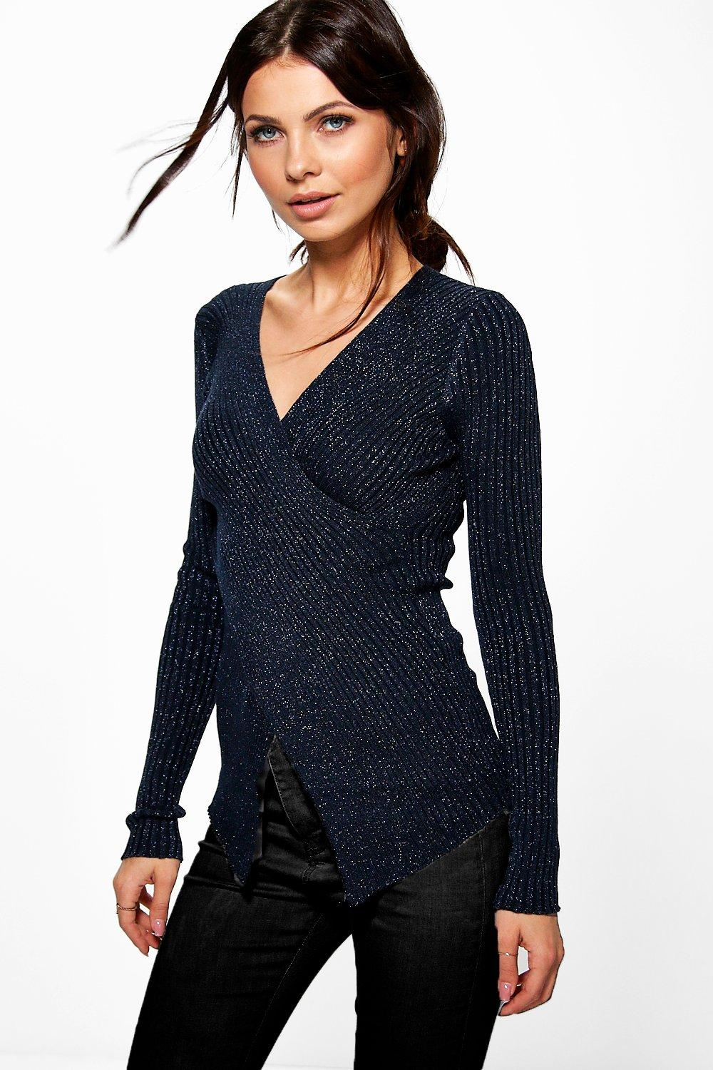 Jane Metallic Stitch Asymmetric Knit Jumper