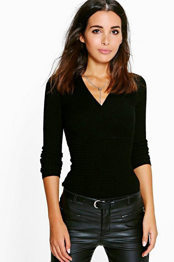 Tina Wrap Front Knit Jumper