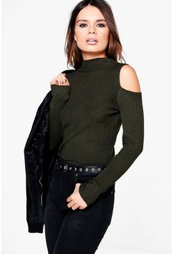 Fay Funnel Neck Cold Shoulder Knit Jumper