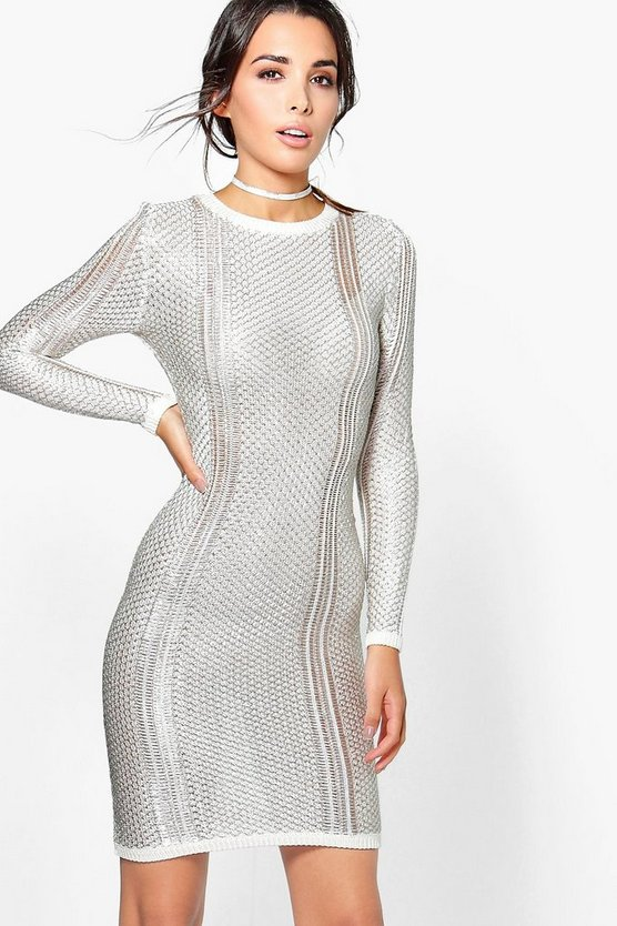 Bella Boutique Metallic Knit Midi Dress