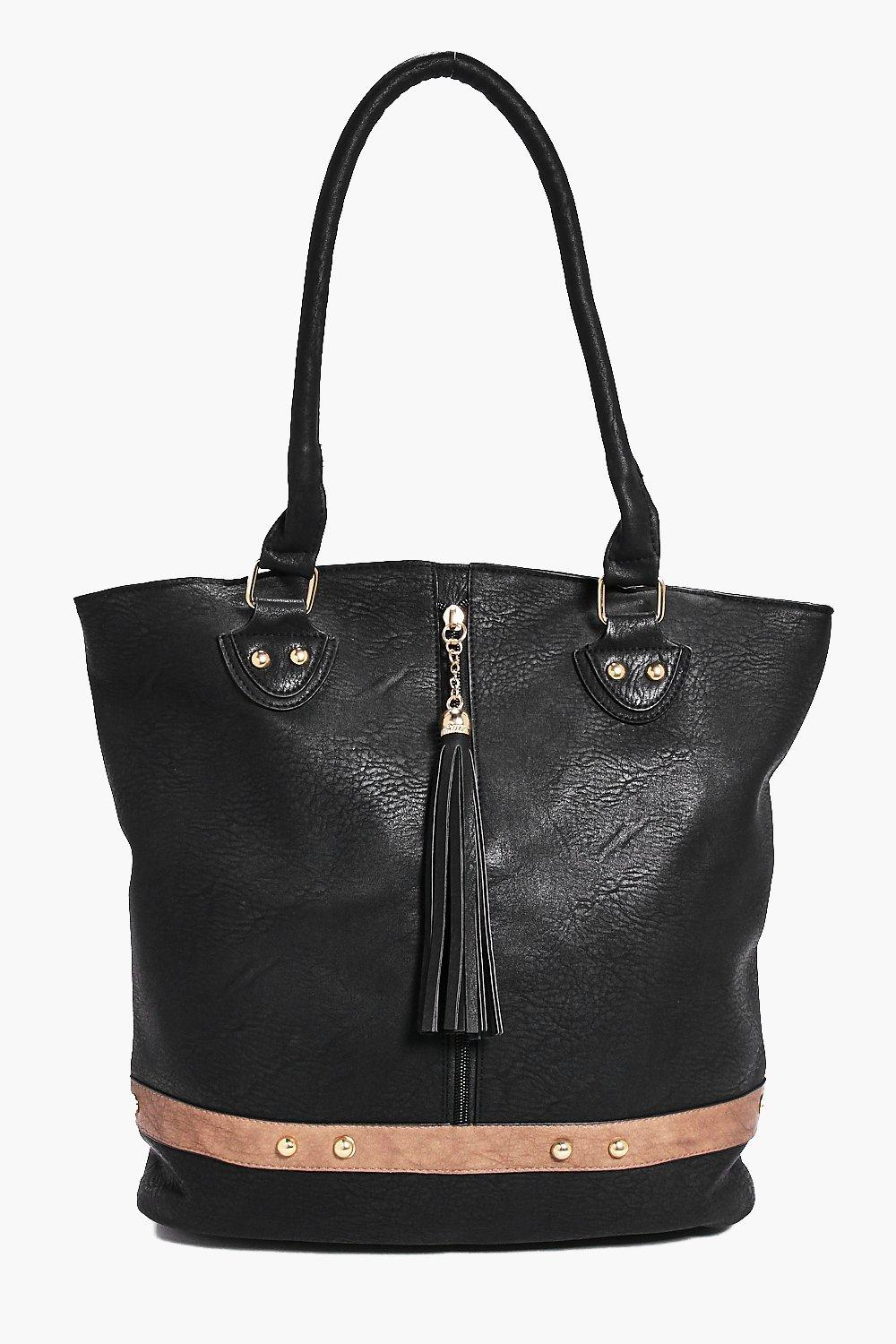 Edie Tassel Detail Contrast Trim Shopper