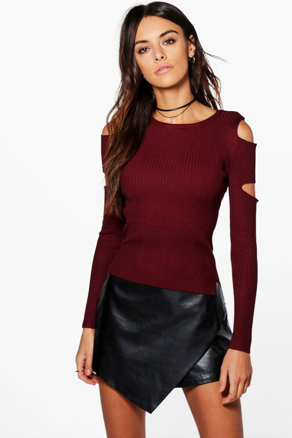 Amy Cold Shoulder Cut Out Detail Jumper