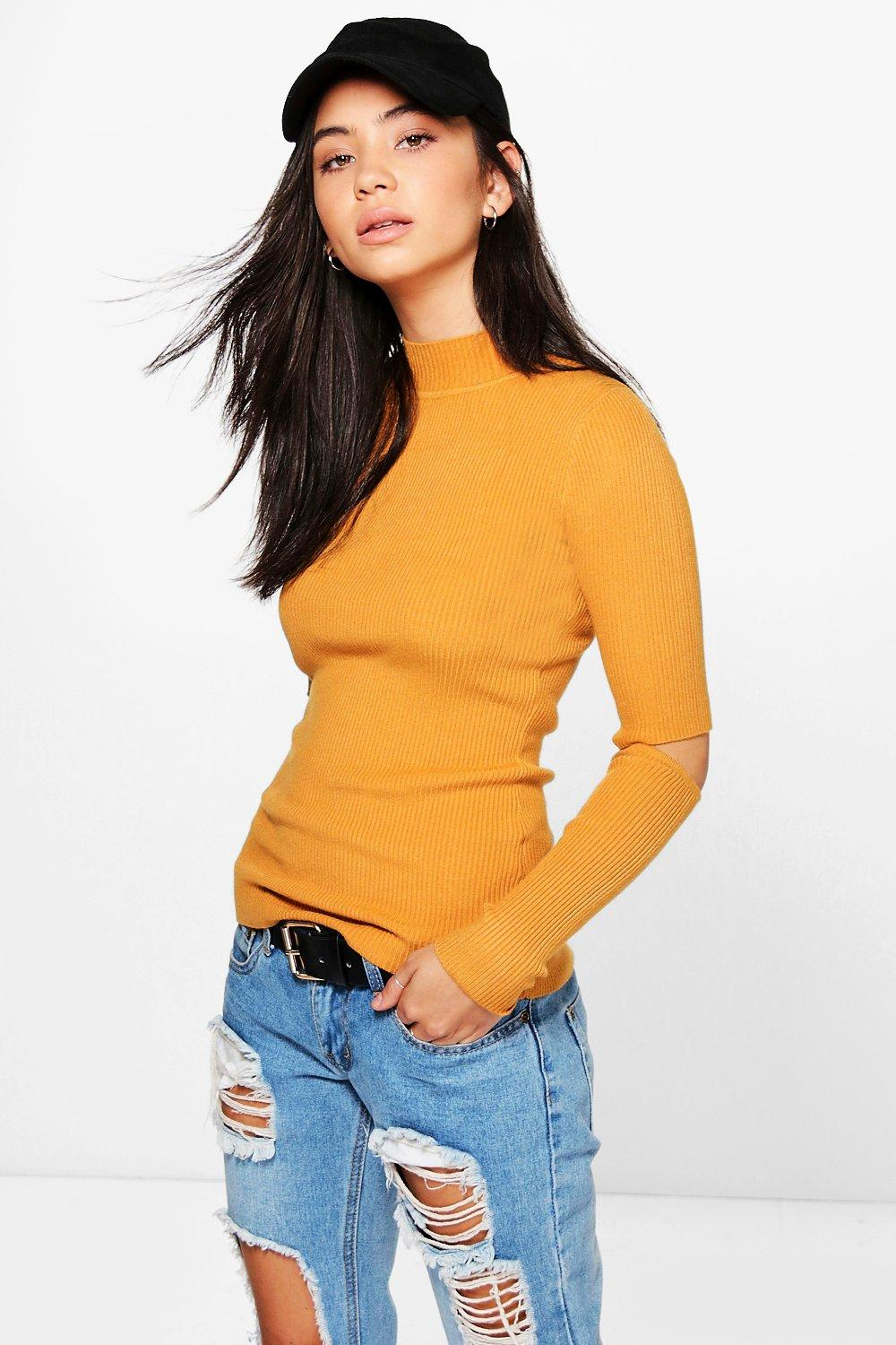Daisy Cut Out Elbow Rib Knit Jumper