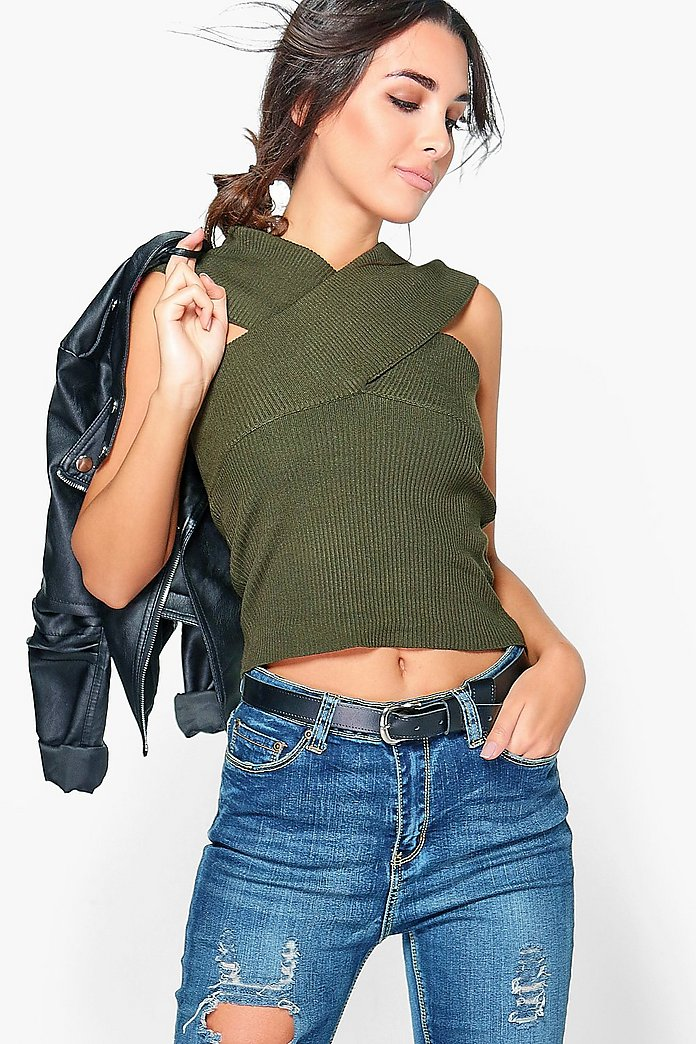 Aimee Sleeveless Wrap Front Rib Knit Jumper