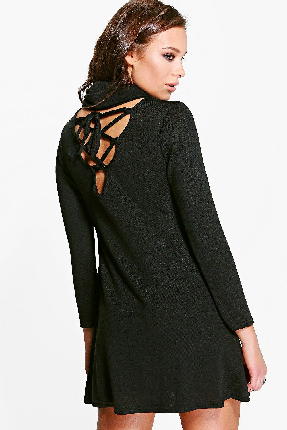 Jackie Lace Up Flute Sleeved Shift Dress