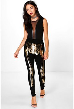 Halloween Kaia Metallic Skeleton Leggings