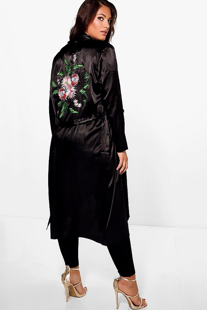 Jordyn Satin Embroidered Waterfall Duster