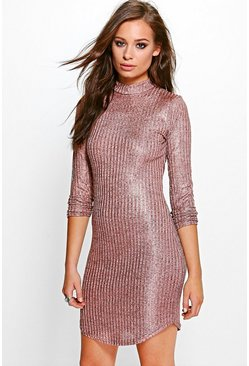 Xenia Metallic Rib Roll Neck Bodycon Dress