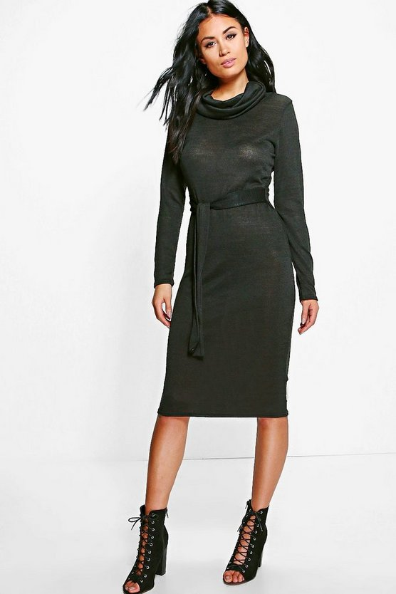 Sandra Roll Neck Tie Detail Midi Dress