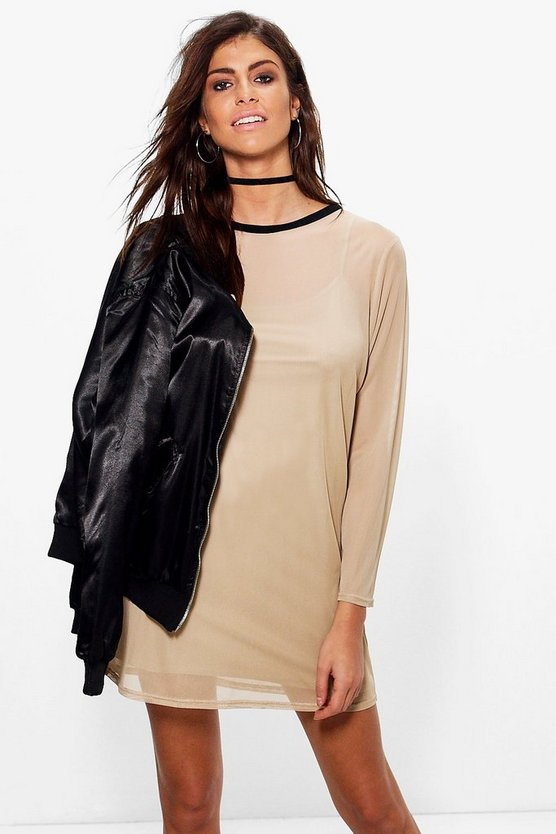 Grace Long Sleeve Mesh Shift Dress