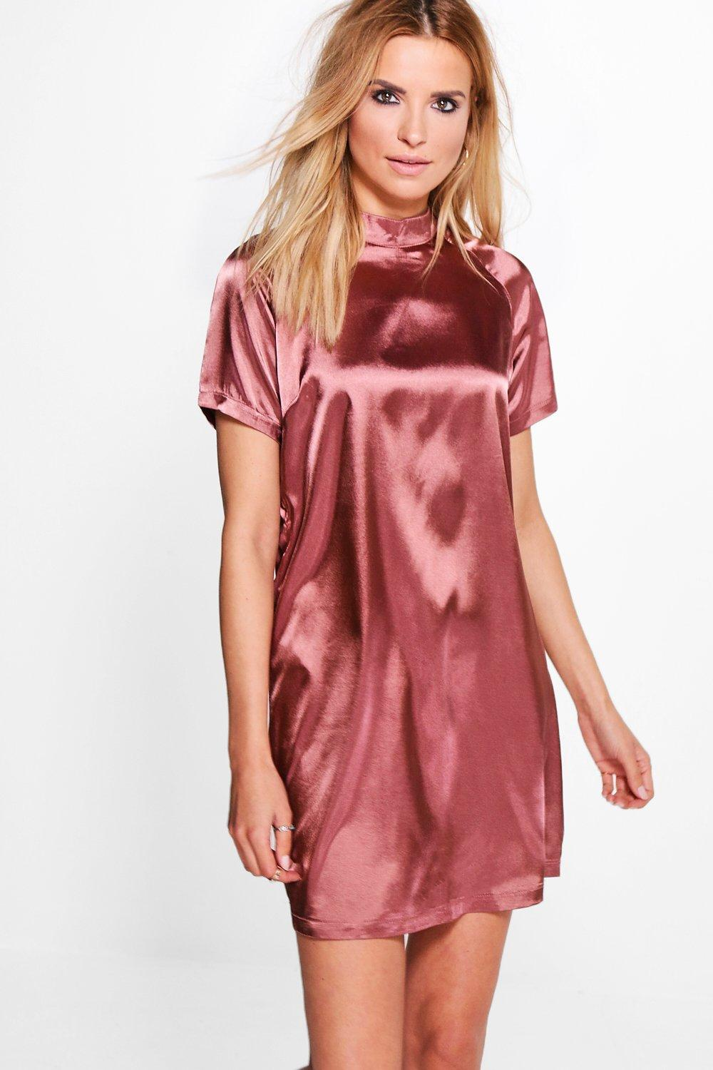 Hayley Short Sleeve Satin Shift Dress