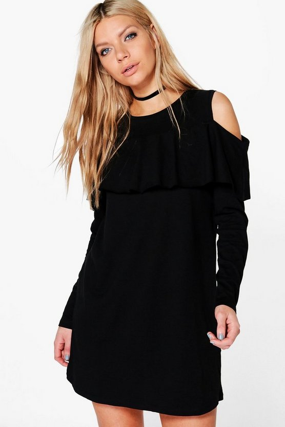 Jenna Ruffle Cold Shoulder Shift Dress