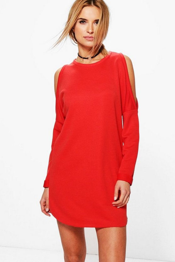 Rita Cold Shoulder Sweat Shift Dress