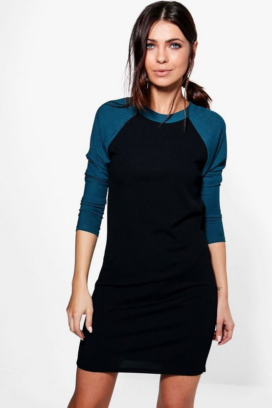 Lois Colour Block Rib T-Shirt Dress