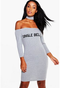 Christmas Holly Single Bells Shift Dress
