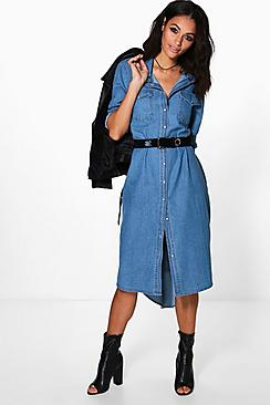 Diana Denim Long Shirt Dress
