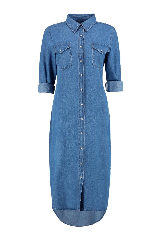boohoo womens diana denim long shirt dress ebay