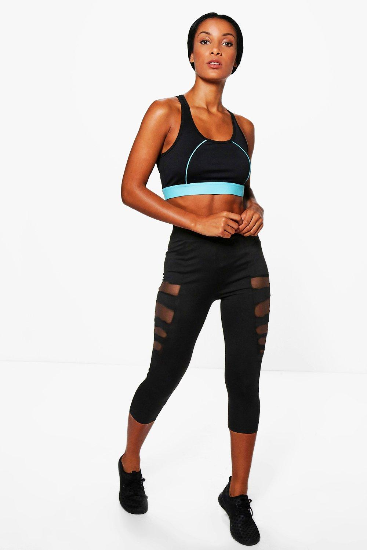 Anna Fit Mesh Panel Capri Running Leggings black
