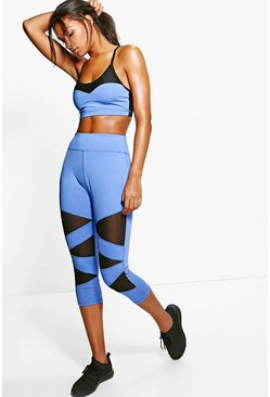 Hollie Fit Contrast Panel Capri Running Leggings