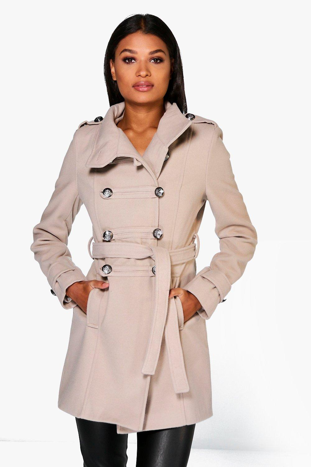 Jade Military Wool Look Coat