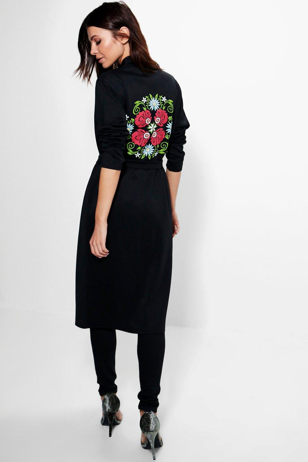 Kate Embroidered Back Print Belted Duster