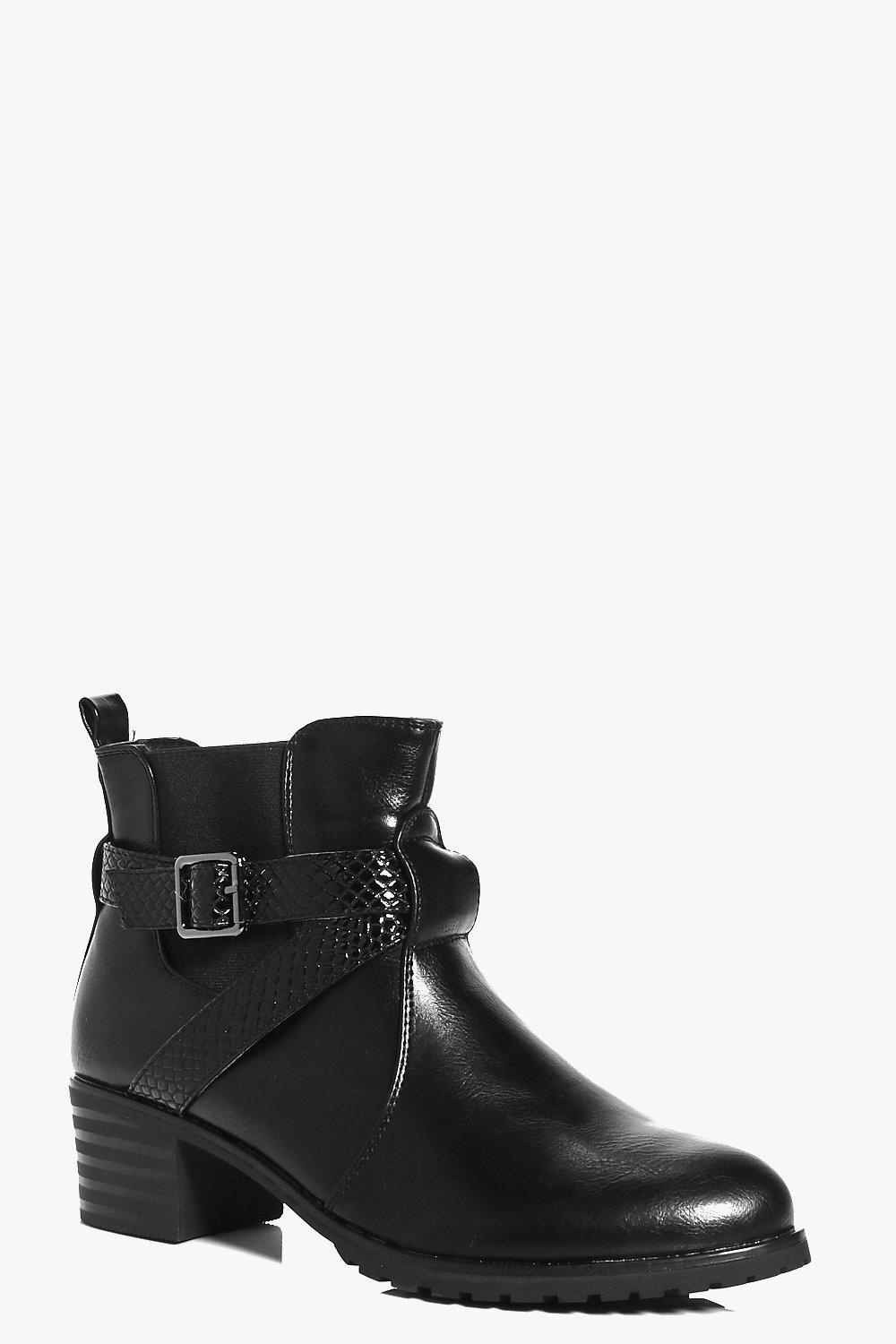 Isabella Wrap Strap Chunky Chelsea Boot