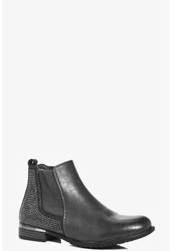 Lily Diamante Back Chelsea Boots