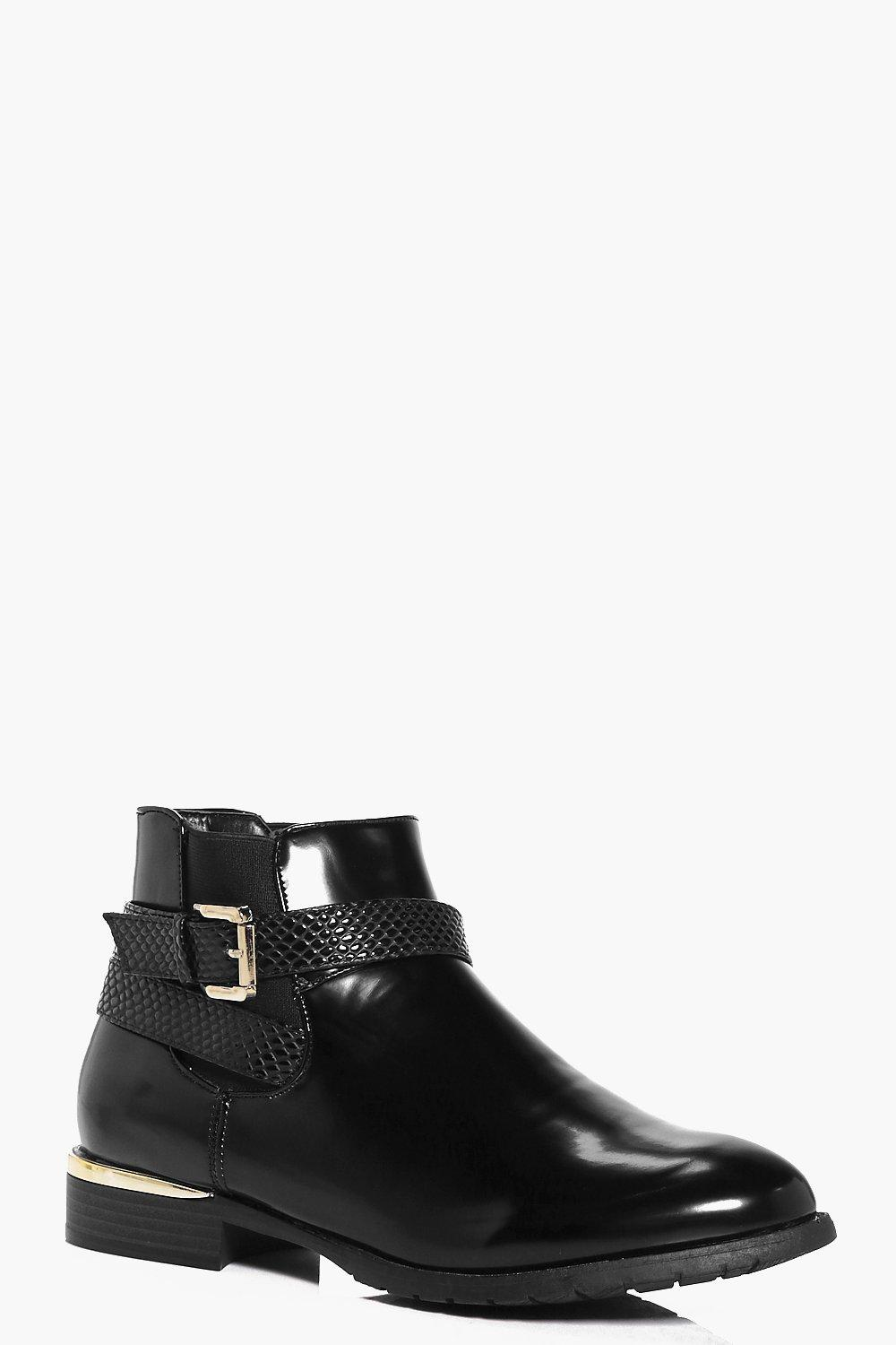 Grace Gold Trim Wrap Strap Chelsea Boot