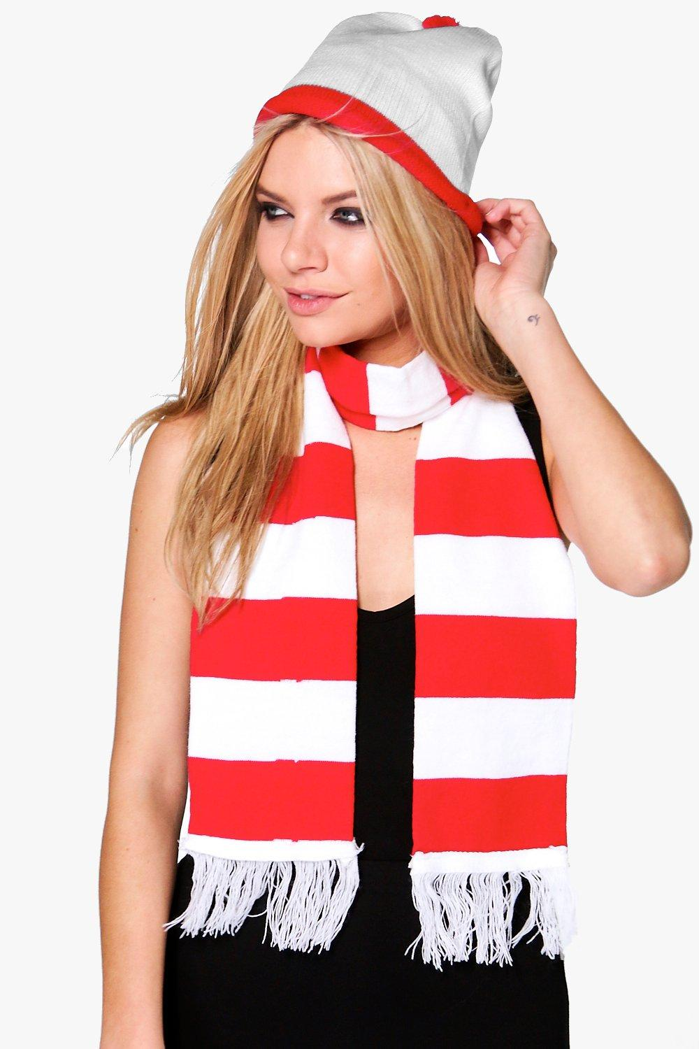 Daisy Halloween Striped Red and White Scarf