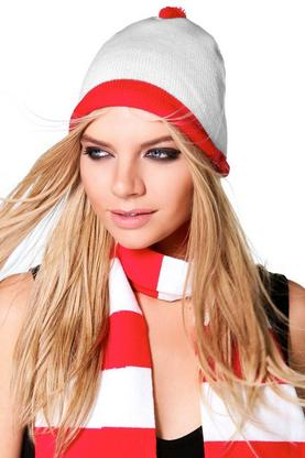 Scarlett Halloween Red & White Beanie Hat