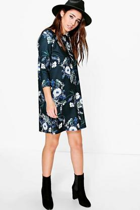 Darnelle Floral 3/4 Sleeve Shift Dress