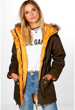 Stephanie Faux Fur Trim Parka