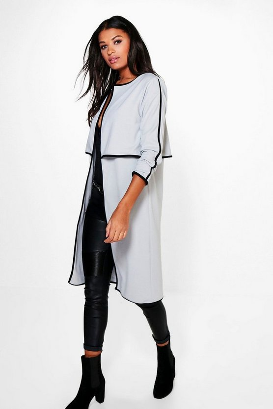 Amy Contrast Trim Duster Coat