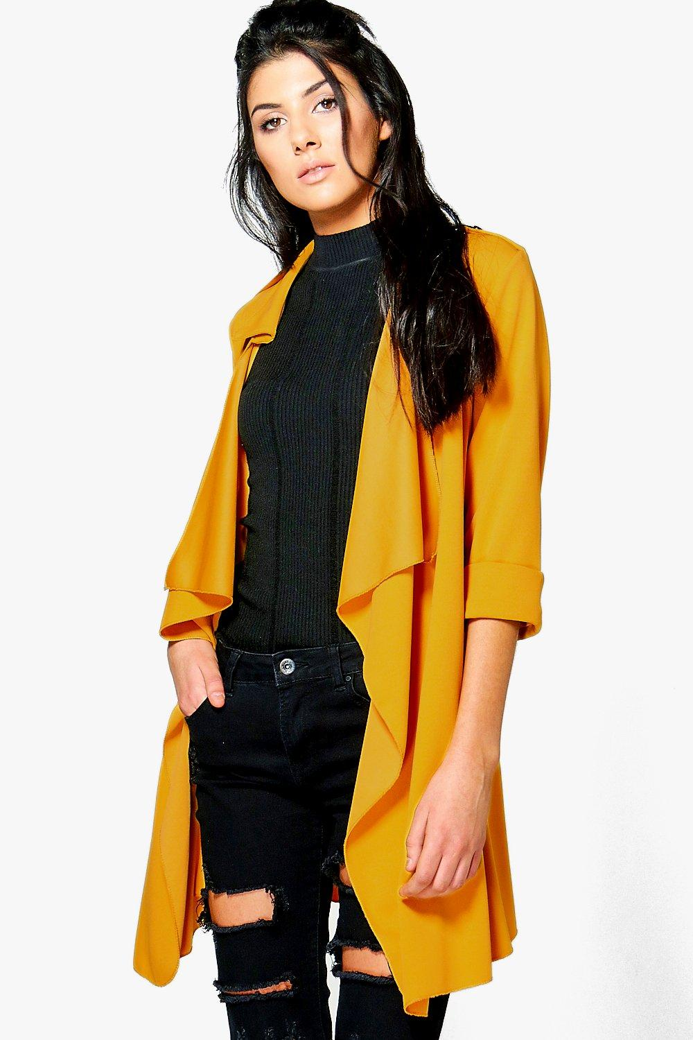 Amelie Collared Waterfall Belted Duster