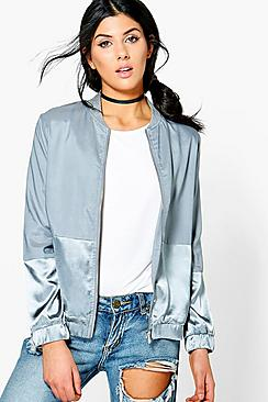 Daisy Contrast Panel Satin Bomber Jacket