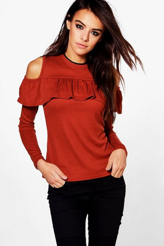 Olivia Cold Shoulder Ruffle Rib Knit Top