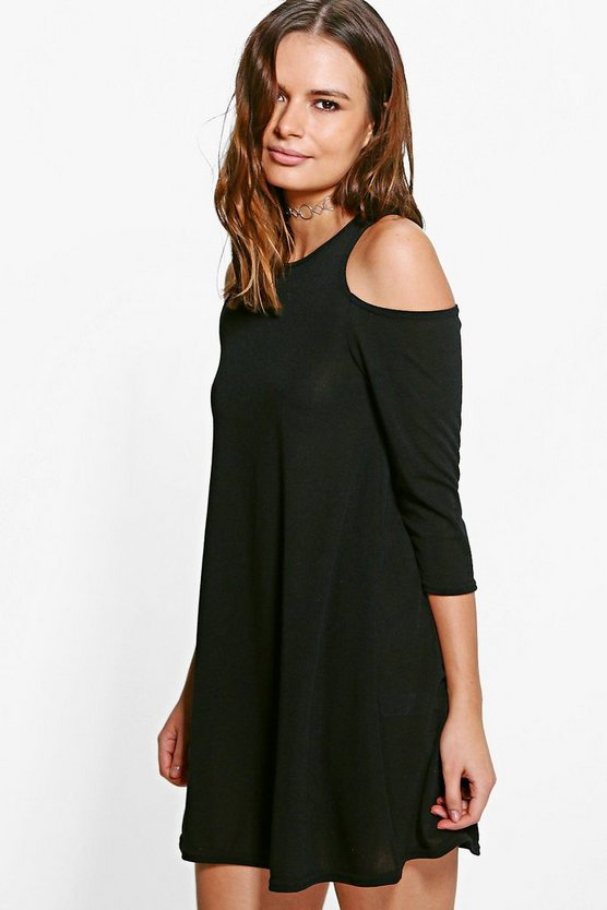Saffy Cold Shoulder Knitted Swing Dress
