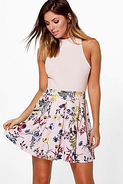 Lottie Floral Box Pleat Skater Skirt