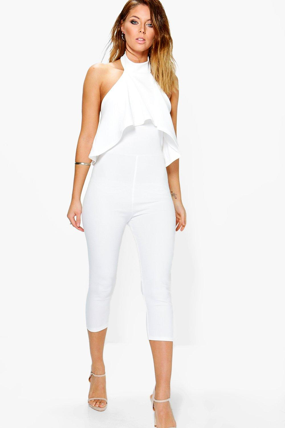 Karina High Neck Frill Capri Length Jumpsuit