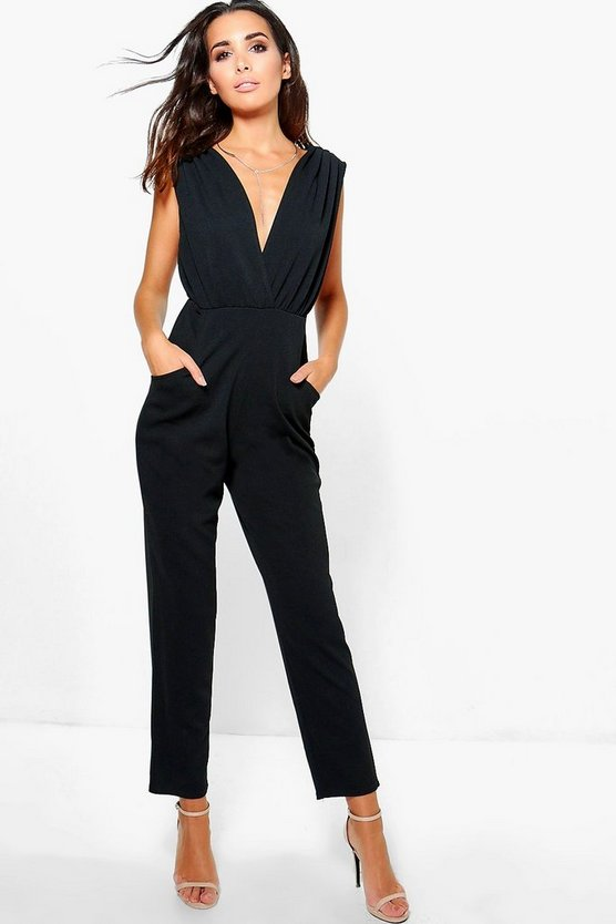 Maria Deep Plunge Pleated Detail Jumpsuit