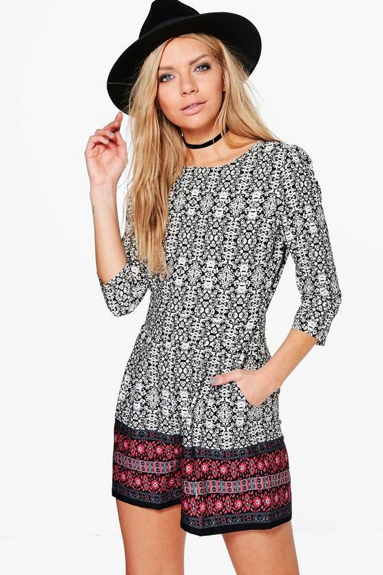 Laura Border Print 3/4 Sleeve Playsuit