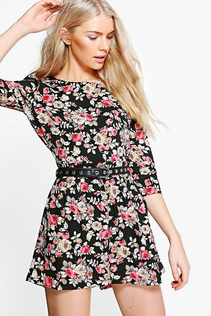 Faye Floral 3/4 Sleeve Playsuit