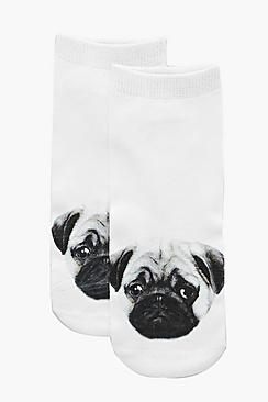 Aimee Pug Puppy Ankle Socks
