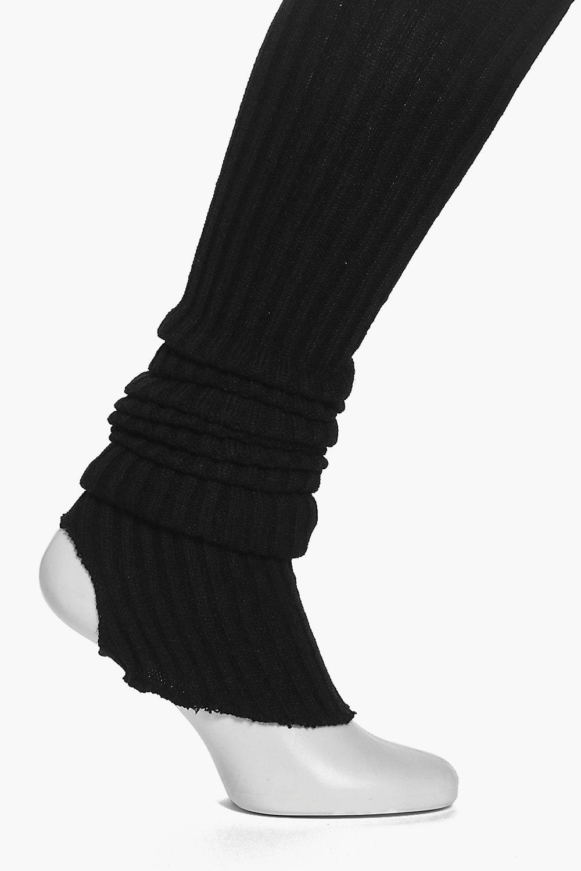 Stirrup Rib Knit Ballet Legwarmers black