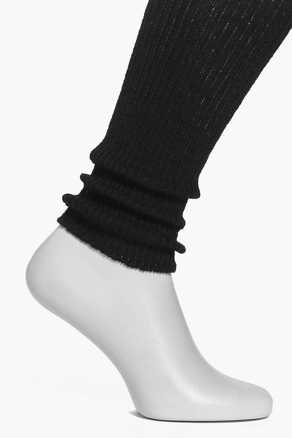 Short Knitted Ballet Leg Warmers black
