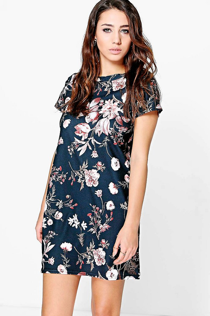 Louise Crew Neck Floral Shift Dress